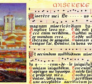 Medieval manuscript of the text of the Miserere